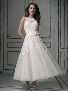 Brilliant Satin & Organza & Lace A-Line tea length Wedding Dress Wedding Dresses Plus Size, Plus Size Wedding, Wedding Dress Styles, Bridal Dresses, Wedding Gowns, Bridesmaid Dresses, Prom Dresses, Tulle Wedding, Dress Prom