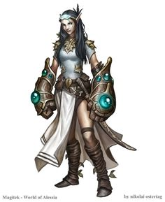 Female Wood Elf Brawler Character Illustration for an upcoming Pathfinder OGL-Campaign named Magitek - World of Alessia!