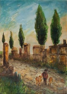 Michele Cascella - STREET WITH CYPRESSES,...