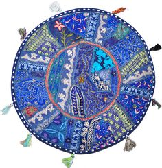 Hey, I found this really awesome Etsy listing at https://www.etsy.com/listing/177195499/22-blue-patchwork-round-floor-pillow
