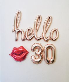 Rose Gold Hello 30 Balloon Decoration for Birthday Party 25th Birthday Parties, 21st Birthday Decorations, 30th Party, Happy 21st Birthday, Gold Birthday, Birthday Bash, 30th Birthday Balloons, 21st Balloons, 21st Birthday Themes