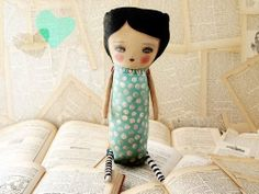 BLUEBERRY - Original Mixed Media Art Doll Plush By Danita. $130.00, via Etsy.