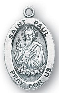 Sterling Silver Oval Shaped St. Paul Medal by HMH   Catholic Shopping .com