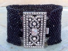 Peyote Stitch Beaded Cuff Bracelet Black Seed by CountryChicCharms, $189.00