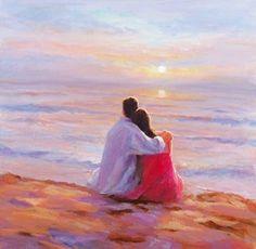Egy nap a tengerparton Paul Milner Painting Love Couple, Couple Art, Modern Oil Painting, Artist Painting, Seascape Paintings, Landscape Paintings, Arte Latina, Speed Art, Figurative Art
