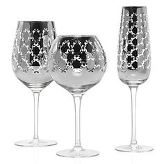 Montecito Glassware - Set of 4 - Silver from Z Gallerie.for the basement Stylish Home Decor, Affordable Home Decor, Wine Glass, Glass Art, Clear Glass, Bar Gifts, Crystal Stemware, Lattice Design, Fall Table