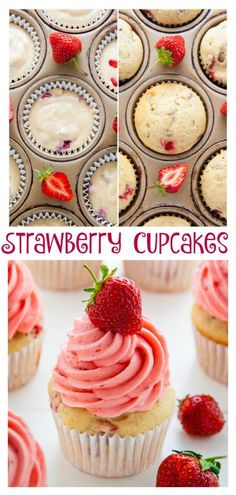 Welcome To My Article,All About Food And Drink. Summer Strawberry Cupcakes Supremely moist strawberry vanilla cupcakes are topped with fresh strawberry buttercream. A wonderful way to use up sweet Summer strawberries! 12 Cupcakes, Cupcake Cakes, Vanilla Cupcakes, Fruity Cupcakes, Mocha Cupcakes, Banana Cupcakes, Gourmet Cupcakes, Velvet Cupcakes, Easter Cupcakes