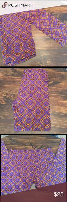 LuLaRoe TC leggings NWOT TC LuLaRoe leggings. (LLR says fits size 12-22) These are purple, orange, blue, and brown geometric pattern Never worn .  Thicker material. Sadly, I'm cleaning my closet out of those I have not worn! 😕*smoke free house with cats* CROSS POSTED LuLaRoe Pants Leggings