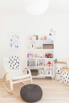 Ikea Poäng rocker + Valje shelf + Tellkiddo paper toy bag | Scandinavian shared kids room - light-filled, pastel baby + toddler playroom | Happy Grey Lucky