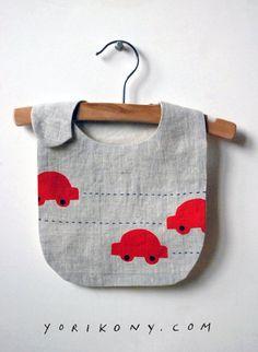 Vroom bib linen bib with unbleached cotton by yorikoNewYork, $28.00