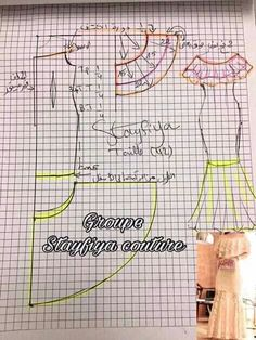 Molde de vestidos Frock Patterns, Easy Sewing Patterns, Coat Patterns, Clothing Patterns, Sewing Barbie Clothes, Diy Clothes, Sewing Hacks, Sewing Tutorials, Couture Sewing