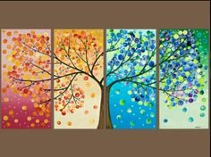 Tree painting Four season tree Original artwork gift for couple wall art canvas art four seasons tree - by qiqigallery Art Diy, Arts And Crafts, Diy Crafts, Tree Wall, Tree Tree, Big Tree, Art Plastique, Oeuvre D'art, Artsy Fartsy