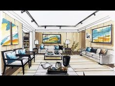 how to sketch interior design - YouTube