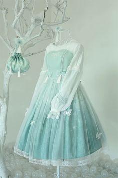 Arcadian Deer -Butterfly Dream- Embroidery Qi Lolita OP Dress
