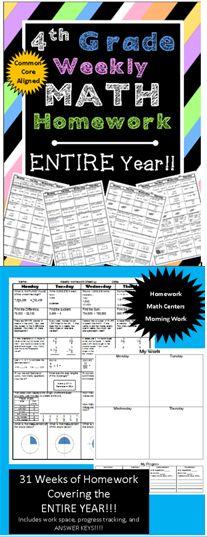 Grade Common Core Math Homework for the entire year Fourth Grade Math, 4th Grade Classroom, Classroom Ideas, Math Teacher, Teaching Math, Maths, Homeschool Math, Homeschooling, Elementary Math