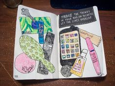 wreck this journal- great idea! Get the stuff in your purse and trace it.
