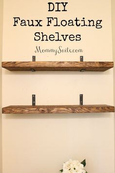 I love how much character these shelves bring to my small bathroom. This is an easy, inexpensive weekend DIY project. # DIY Home Decor inexpensive DIY Faux Floating Shelves - Mommy Suite Diy Wand, Floating Shelves Diy, Small Shelves, Easy Shelves, Diy Kitchen Shelves, Floating Stairs, Wood For Shelves, Building Floating Shelves, Wood Bathroom Shelves