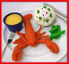 Wool Felt Play Food  Lobster  For the Little Chef who by EvaLauryn, $85.00