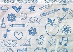 FREE school hand drawn brushes for photoshop. Load, change the color and they are sooooo cute!