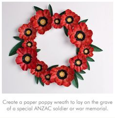 Poppy Wreath download. This is a fantastic resource with large, medium and small poppy sizes, the leaves template and even the middles for the flowers.