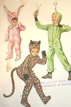 Vintage-1960s-Child-Costume-McCalls-Pattern-6991-Size-8-Space-Alien-Cat-Rabbit