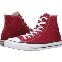 Converse Chuck Taylor All Star Seasonal Hi (Chili Paste) Classic Shoes ($38) ❤ liked on Polyvore featuring shoes, sneakers, red, red hi tops, red shoes, rubber shoes, hi tops and star shoes