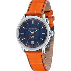 Utilizing innovative designs, diverse creativity, and the most detailed craftsmanship, the prestige of James McCabe watches is unsurpassed. The Heritage Automatic II in Blue/Orange features a slim pro