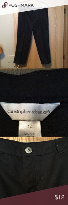 NWOT black jean capris Black cotton poly spandex. 36 in waist. Christopher & Banks Pants Capris