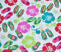 Kawaii Hawaiian sandal flip flop hibiscus flowers neon cotton fabric 1 yard via Etsy