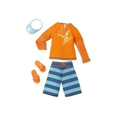 Barbie Fashion Clothing for Ken - Orange Beach Top, Striped Shorts and Visor  - Mattel 1001134 -  Doll Clothing - FAO Schwarz®