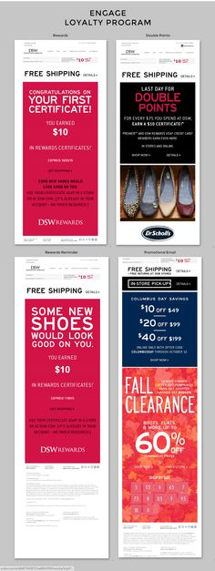 DSW | Here are two examples of DSW using the email channel to onboard and engage customers with their loyalty program. Notice the header includes account information and dynamically showcases currently available rewards. | Lauryl Kitson, Marketing Consultant Email Marketing Design, Email Design, Marketing Ideas, Loyalty Marketing, Email Hack, Loyalty Rewards, Swipe File, Accounting Information, Marketing Consultant