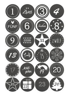 Adventskalenderzahlen - Adventskalender Sticker zahlen 1-24- Schieferoptik - ein Designerstück von dueTori bei DaWanda