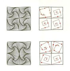 Zentangle - #Zentangle - hand drawn art - zentangle patterns - Enthusiastic Artist: Search results for paradox pattern - another great tutorial