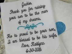 Excited to share the latest addition to my #etsy shop: EMBROIDERED Grooms Mothers Wedding Hankie - Wedding Handkerchief Gift From The Bride - Get Off To A Great Start With Your New Mother Hankie http://etsy.me/2nhG8de #weddings #hankerchief #bride #groom #mother #perso