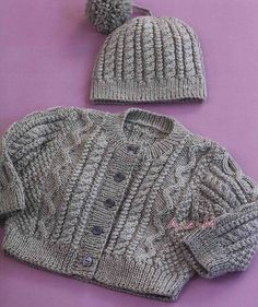 Baby Knitting Patterns Free pattern for baby cardigan and cable hat. Baby Sweater Patterns, Baby Cardigan Knitting Pattern, Knit Baby Sweaters, Knitted Baby Clothes, Baby Patterns, Baby Knits, Aran Knitting Patterns, Cable Knitting, Knit Patterns