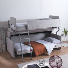 Palazzo - Sofa That Turns Into Bunk Beds - Resource Furniture Couch Bunk Beds, Ikea Bunk Bed, Bunk Beds With Stairs, Kids Bunk Beds, Futon Couch, Sleeper Sofas, Resource Furniture, Cama Murphy, Ashley Furniture Sofas
