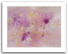 White and Purple Flowers 10X8 Original Watercolor by WatercolorsTR
