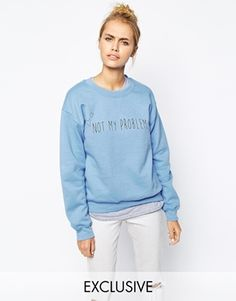 Adolescent Clothing Boyfriend Crew Neck Sweatshirt With Not My Problem Heart Embroidery