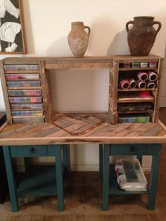Pallet Computer #Desk with #Bookshelves - 25 Unique DIY Wood Pallet Projects | 99 Pallets