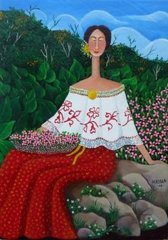 This Flower Girl Poses in Panama! Painting by Mayo Hassan, size: 35cmX25cm. Painting matierial: Acrylic on canvas