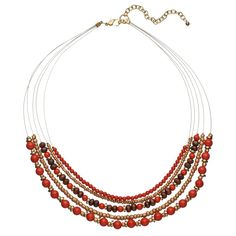 Red Beaded Multi Strand Necklace, Women's, Brt Pink