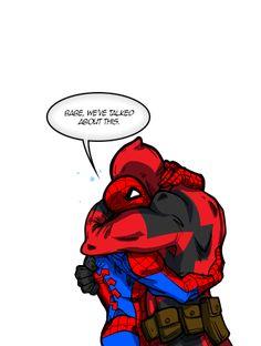 "GeminiDragon JasmineAlexandra TwistedCupid — Spideypool ""I Hate Me More!"" based on this ""quote"". Spideypool Comic, Marvel Dc, Marvel Comics, Deadpool And Spiderman, Hate, Wattpad, Fan Art, Movie Posters, Fictional Characters"