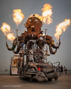 "The term ""Mutant Vehicle"" takes on a whole new meaning with this flaming Octopus sculpture by Duane Flatmo called ""El Pulpo Mecanico"". Only 5 more days until the release of Burning Man: Art on Fire!"