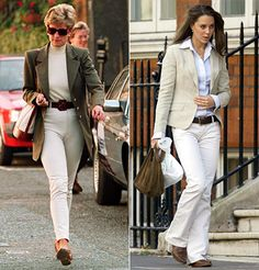 Princess Diana went shopping at Harvey Nichols in 1995 wearing an understated neutral pant paired with a blazer. Kate Middleton dressed almost identically 10 years later out and about in London...
