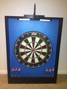 LED LIGHTED Carolina Blue & Black Trim Dart Board by JaysProjects, $149.99