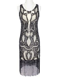 56349267 Amazon.com: KAYAMIYA Women's 1920S Sequined Beaded Embellishment Crown  Pattern Flapper Dress: Clothing. Great Gatsby DressesFringe ...