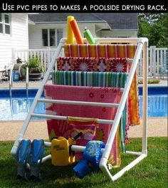 PVC poolside drying rack for towels, suits, etc