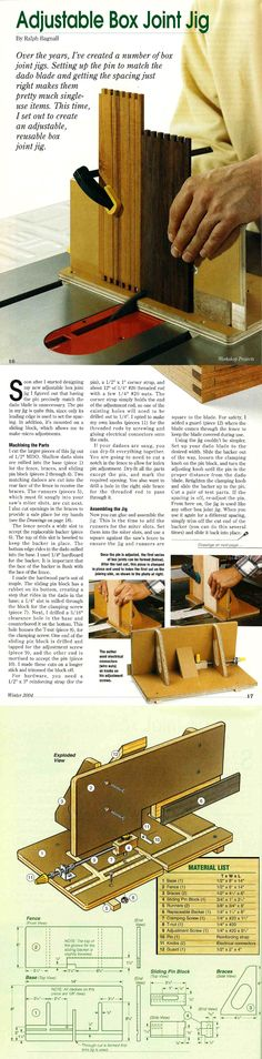 ❧ Adjustable Box Joint Jig * Make all your box joints with one Jig. The indexing key adjusts side to side for different fingers and a replaceable backer prevents tearout. * First Published in Woodworker's Journal Feb 2002