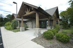 veterinary hospital entrance - like the cedar beams - B