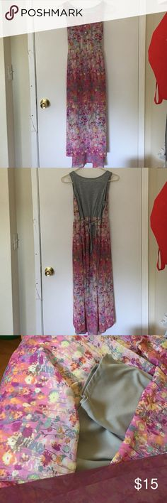 Cute Kid's Maxi Dress Pink floral print kid's maxi dress. The inner layer is a shorter than the outer layer. Kid's size XL or 14/16 Xhilaration Dresses Casual
